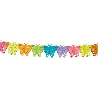 Színes pillangó girland, 6 méter