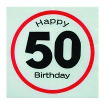 Sebességkorlátozó Happy Birthday 50. szalvéta