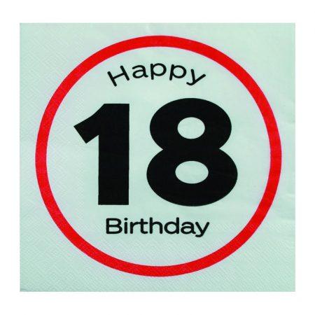 Sebességkorlátozó Happy Birthday 18. szalvéta