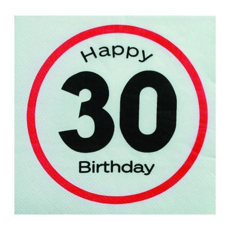 Sebességkorlátozó Happy Birthday 30. szalvéta
