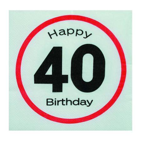 Sebességkorlátozó Happy Birthday 40. szalvéta