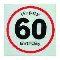Sebességkorlátozó Happy Birthday 60. szalvéta