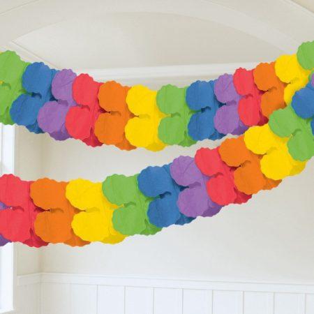 Színes papír girland, 3,6 méter