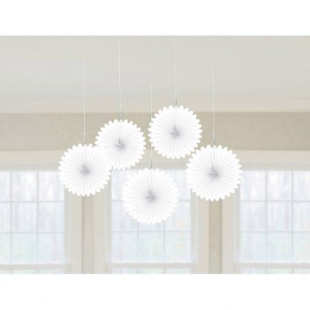 Fehér legyező dekoráció, 5 db/csomag