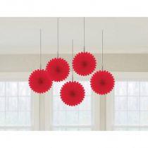 Piros legyező dekoráció, 5 db/csomag