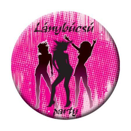 Lánybúcsú Party kitűző, rózsaszín-fekete