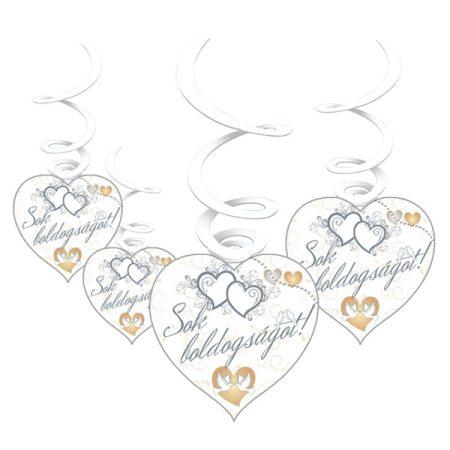 Sok Boldogságot!ezüst függődekoráció, 6 db/csomag
