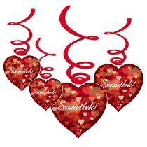 Szeretlek! Szerelmes függődekoráció, 6 db/csomag