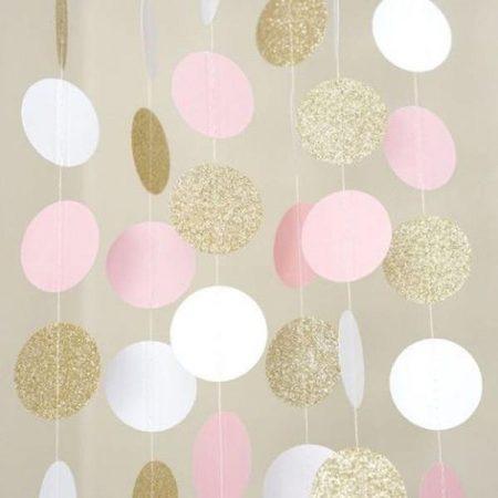 Arany-pink-fehér füzér, 3 méter