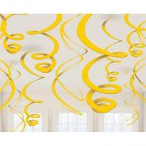 Sárga spirális dekoráció, 12 db/csomag