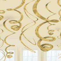 Arany spirális dekoráció, 12 db/csomag