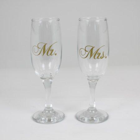 Mr. és Mrs. Feliratú Pezsgős pohár Szett