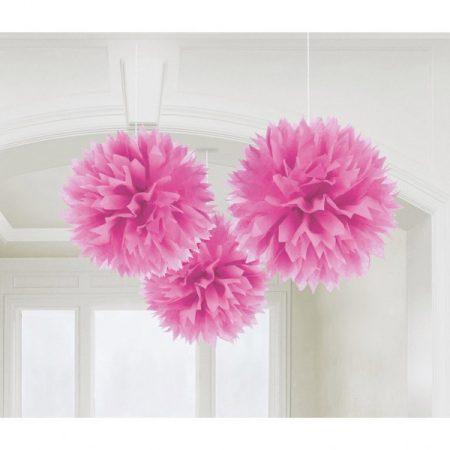 Pink bolyhos dekoráció, 3 db/csomag