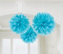 Kék bolyhos dekoráció, 3 db/csomag