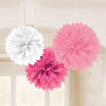 Rózsaszín, fehér bolyhos függő dekoráció 3 db/csomag