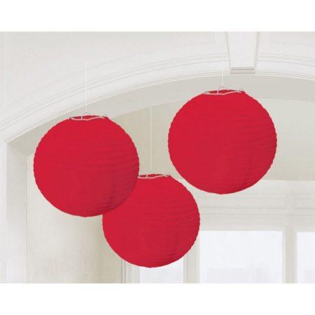Piros gömb lampion, 3 db/csomag