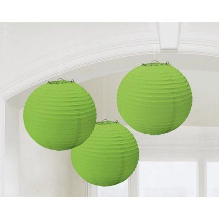 Zöld gömb lampion, 3 db/csomag