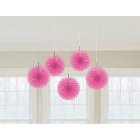 Rózsaszín legyező dekoráció, 5 db/csomag