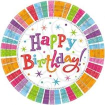 Radiant Happy Birthday tányér, 8 db/csomag