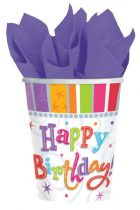 Radiant Happy Birthday pohár, 8 db/csomag