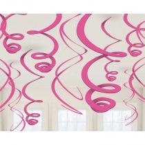 Rózsaszín spirális dekoráció, 12 db/csomag