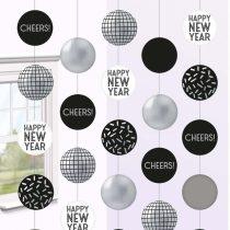 Happy New Year Disco gömbös függő dekoráció