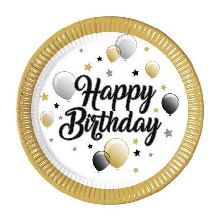 Happy Birthday elegáns papírtányér, 8 db/csomag