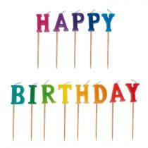 Happy Birthday feliratú színes tortagyertya, 13 db/csomag