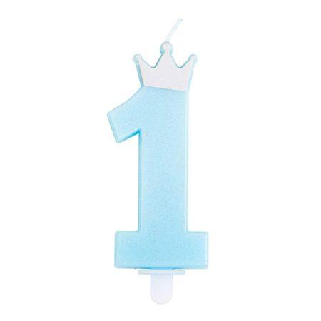 1-es szülinapi gyertya kék, ezüst koronával