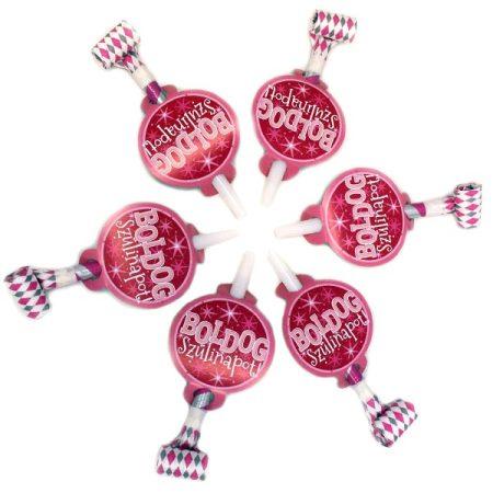 Rózsaszín Boldog Szülinapot anyósnyelv, 6 db/csomag