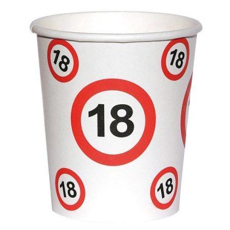 Sebességkorlátozó 18-as szülinapi pohár, 6 db/csomag