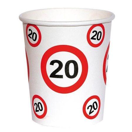 Sebességkorlátozó 20-as szülinapi pohár, 6 db/csomag