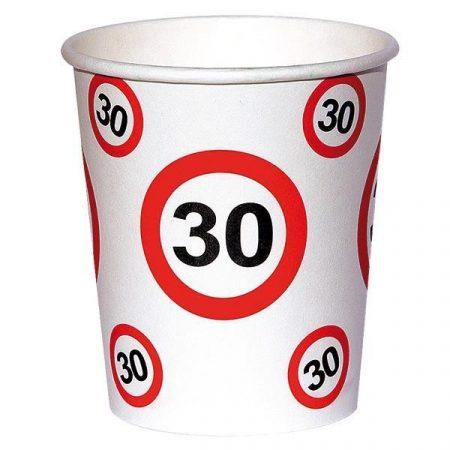 Sebességkorlátozó 30-as szülinapi pohár, 6 db/csomag