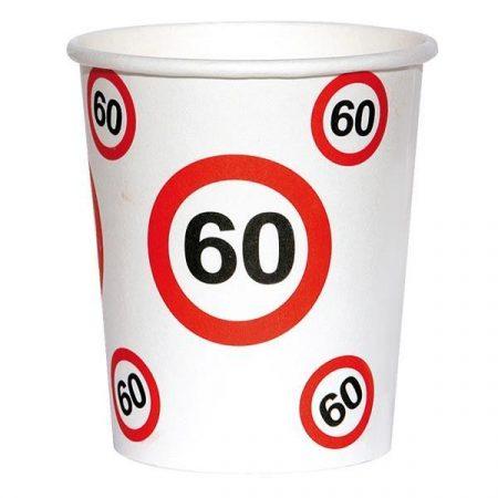 Sebességkorlátozó 60-as szülinapi pohár, 6 db/csomag
