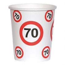 Sebességkorlátozó 70-es szülinapi pohár, 6 db/csomag