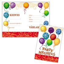 Léggömbös parti meghívó borítékkal, 8 db/csomag