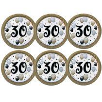 30-as számos elegáns papírtányér, 6 db/csomag