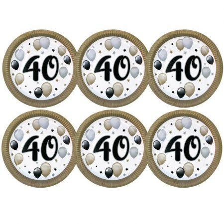 40-es számos elegáns papírtányér, 6 db/csomag