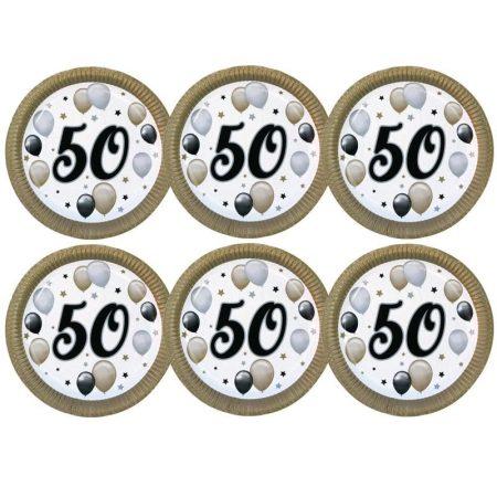 50-es számos elegáns papírtányér, 6 db/csomag