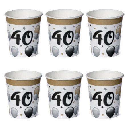40-es számos elegáns papírpohár, 6 db/csomag