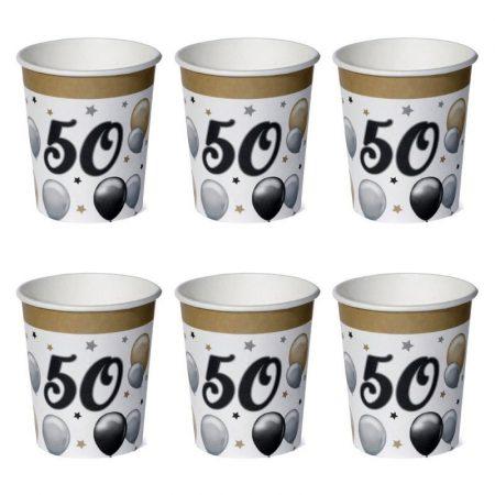 50-es számos elegáns papírpohár, 6 db/csomag