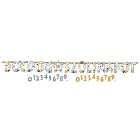 Elegáns Boldog Szülinapot számozható betűfüzér