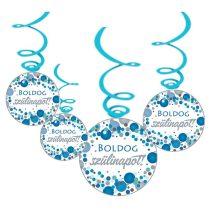 Kék konfettis Boldog Szülinapot! függődekoráció, 6 db/csomag