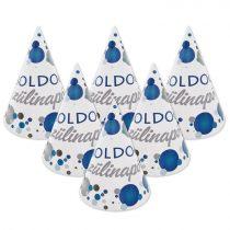 Kék konfettis Boldog Szülinapot! csákó, 6 db/csomag