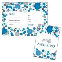 Kék konfettis parti meghívó borítékkal, 8 db/csomag