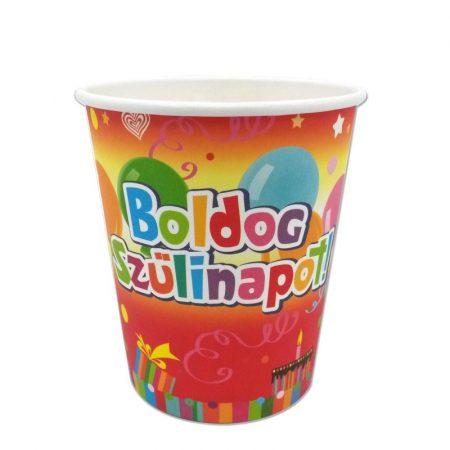 Színes Boldog Szülinapot pohár, 6 db/csomag