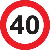40-es sebességkorlátozó tábla
