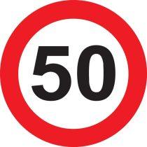 50-es sebességkorlátozó tábla