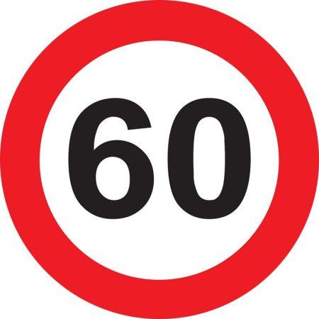 60-as sebességkorlátozó tábla