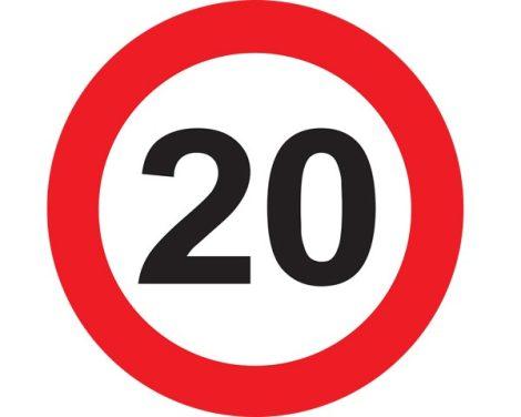 20-as sebességkorlátozó tábla